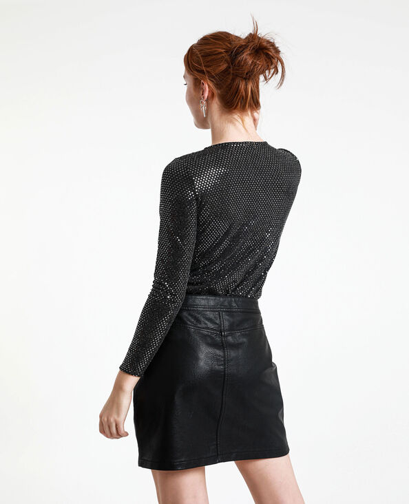Body con paillettes nero