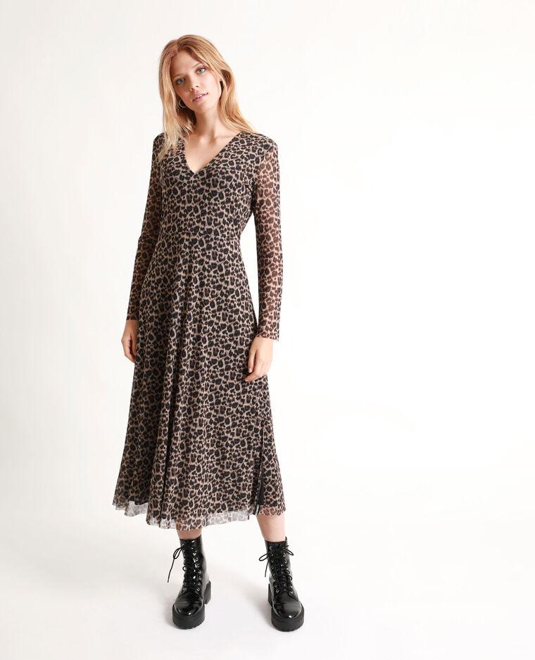 Abito lungo leopardato marrone