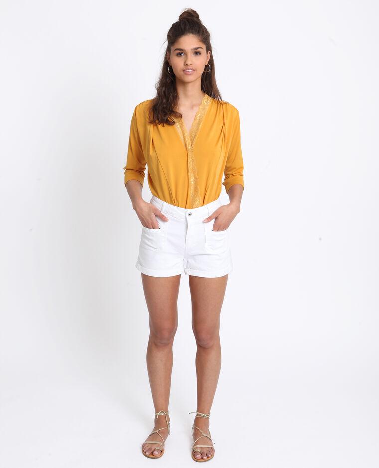 Body camicia in pizzo giallo