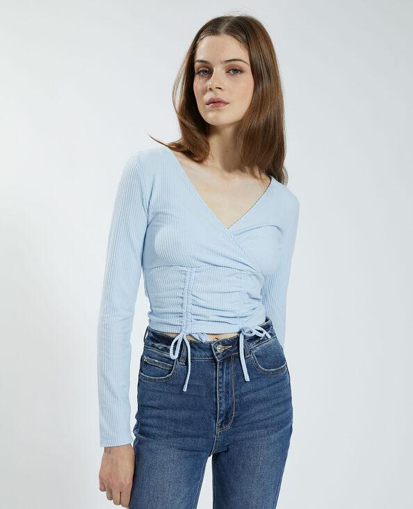 T-shirt a coste da annodare effetto morbido blu cielo - Pimkie
