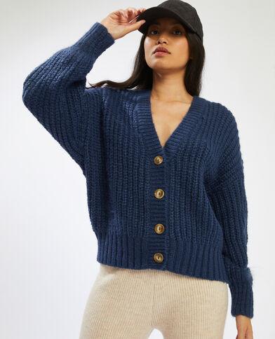 Cardigan in maglia spessa blu - Pimkie