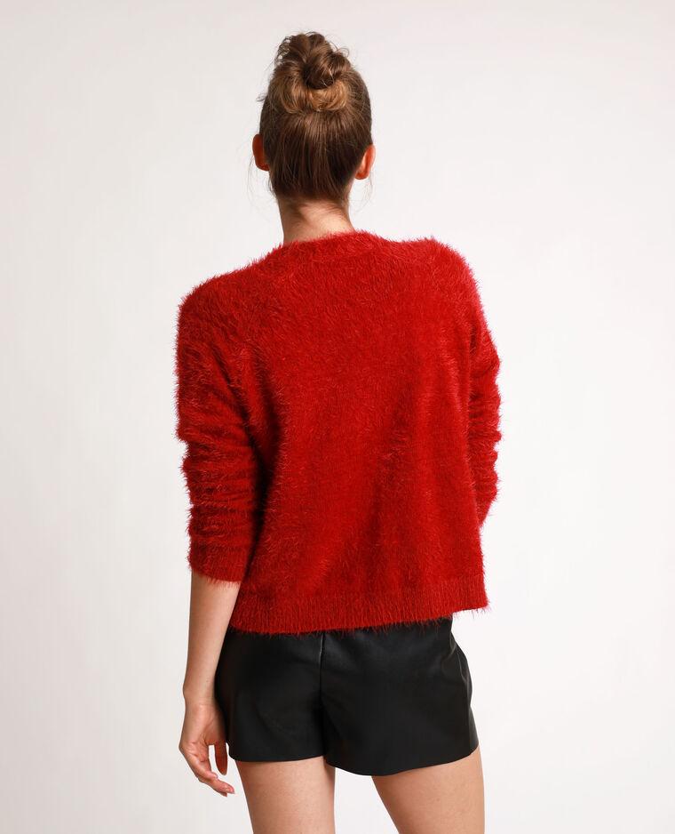 Cardigan fluffy rosso