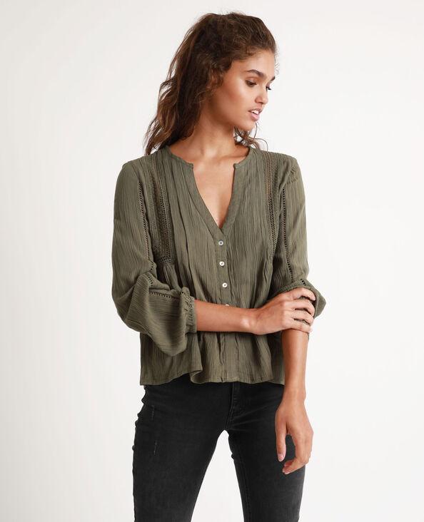 Camicia con collo a V verde