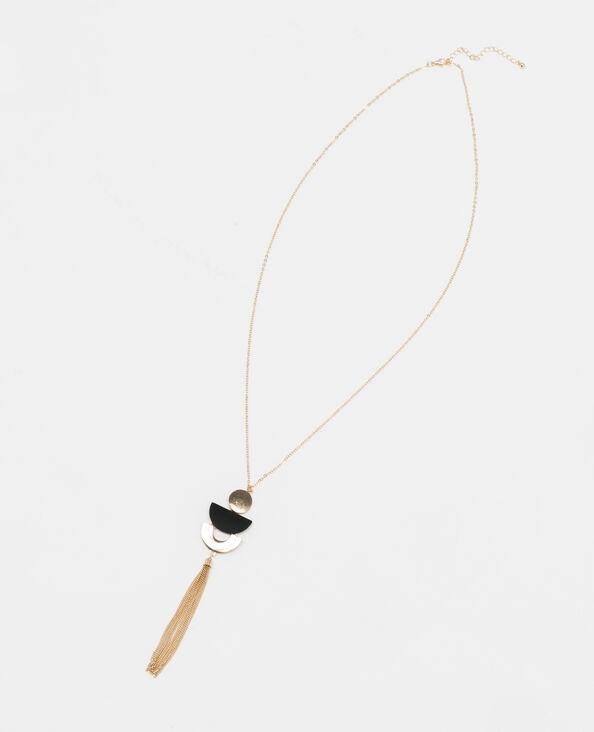 Collana lunga con pompon in metallo dorato