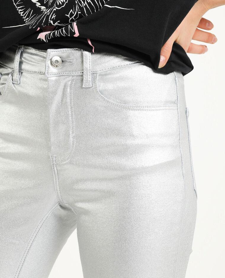 Skinny grigio paillettato