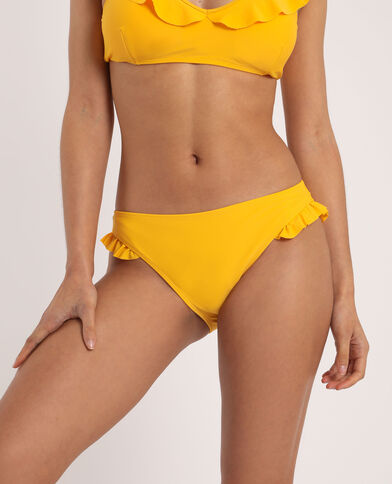 Pezzo sotto di bikini con volant giallo