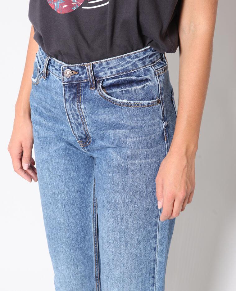 Jeans dritto con risvolto blu