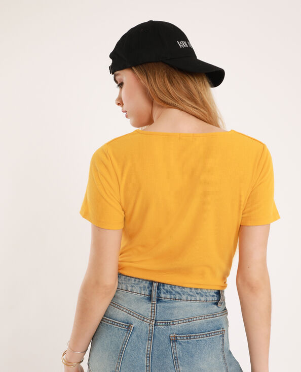 T-shirt con scollatura a V giallo