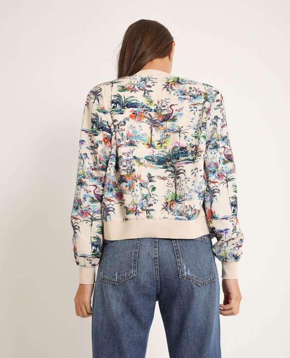 Bomber con stampa tropicale beige