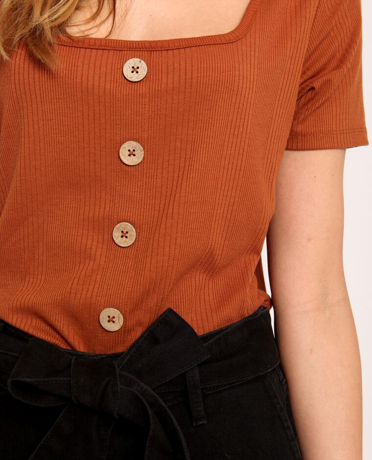 T-shirt con bottoni ruggine