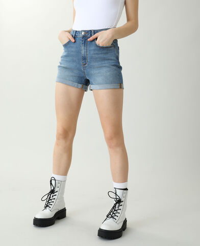 Short di jeans high waist blu denim