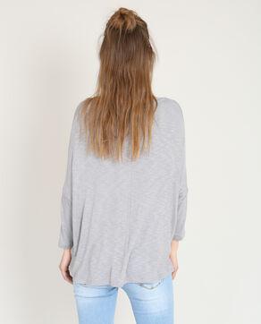 T-shirt con collo incrociato grigio chiné