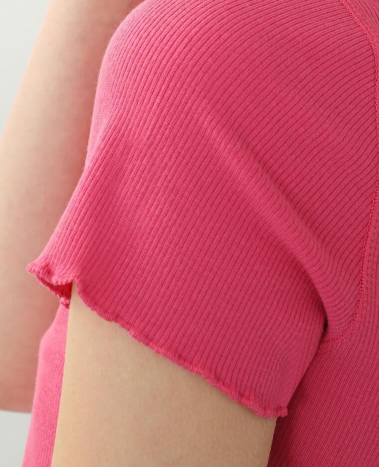 T-Shirt a coste con volant rosa