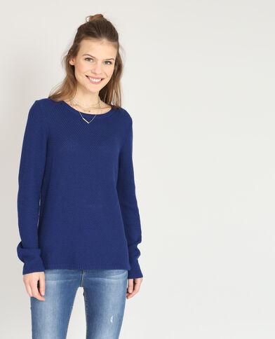 Pull in maglia fantasia blu scuro