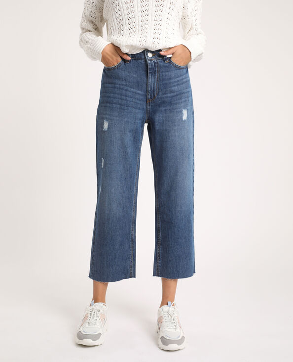 Jeans dritto high waist blu denim