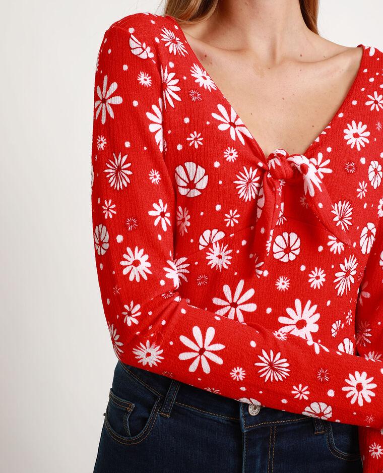 Top a fiori rosso
