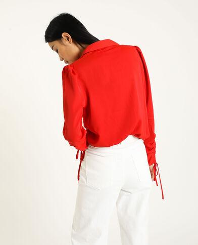 Camicia con maniche risvoltabili rosso
