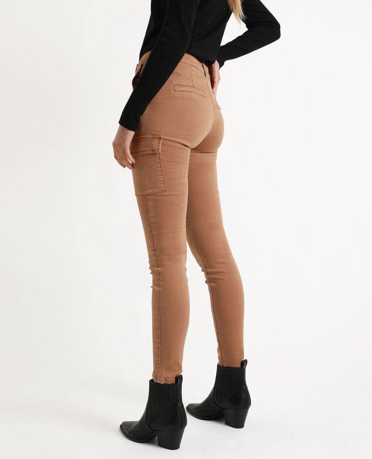 Pantalone cargo skinny caramello