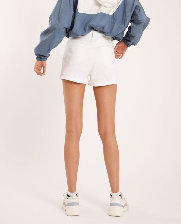 Short di jeans high waist bianco