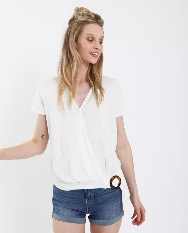 T-shirt con texture e con collo a V bianco sporco