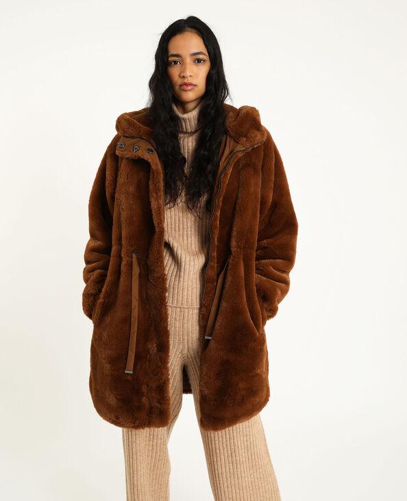 Cappotto in pelliccia ecologica cammello