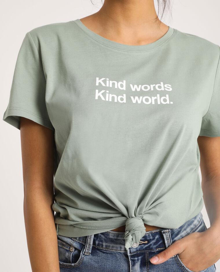 T-shirt con scritta verde