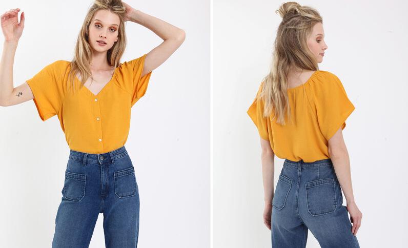 Camicia morbida con bottoni giallo