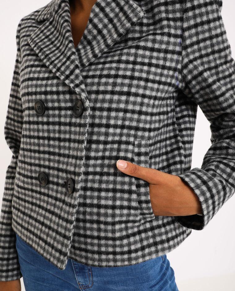 Cappotto corto a quadri gris