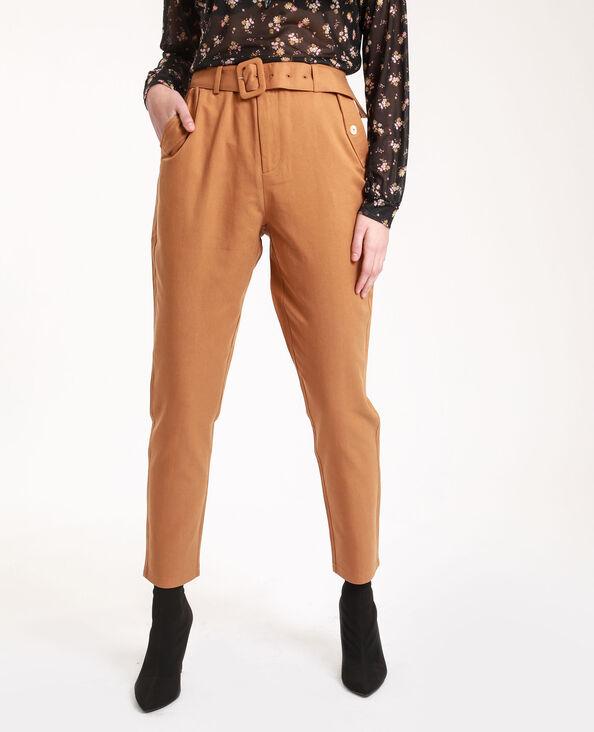 Pantalone a carota cammello