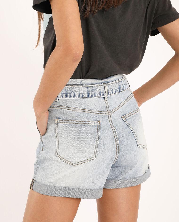 Short di jeans a vita alta blu delavato