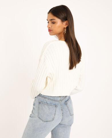 Cardigan corto bianco sporco