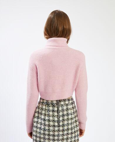 Pull corto con collo dolcevita rosa - Pimkie