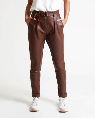 Pantalone in finta pelle marrone