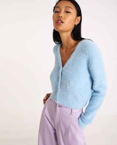 Cardigan fluffy con collo a V blu