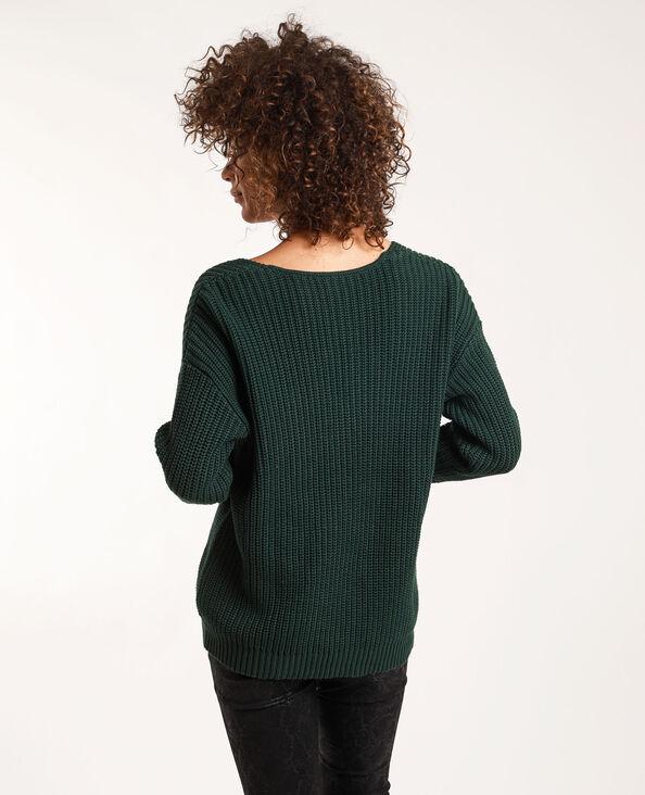 Pull ampio con collo a V verde