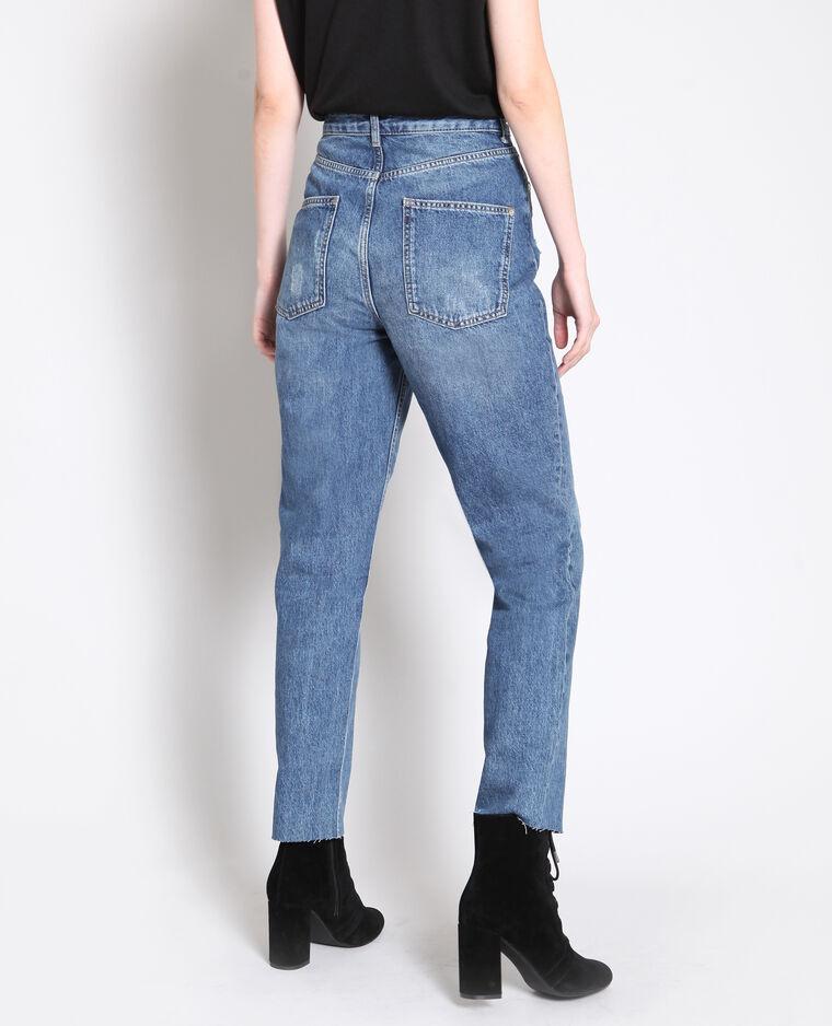 Jeans dritto a vita alta blu grezzo