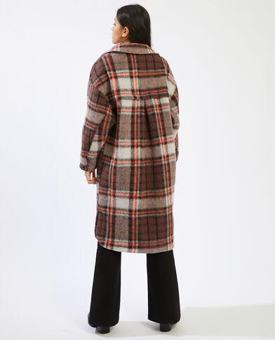 Giacca camicia lunga a quadri marrone - Pimkie