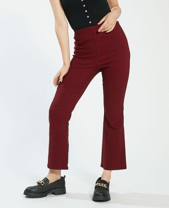 Pantalone flare a quadri rosso - Pimkie