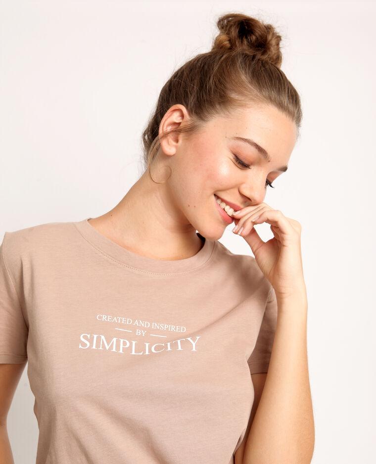 T-shirt con messaggio beige