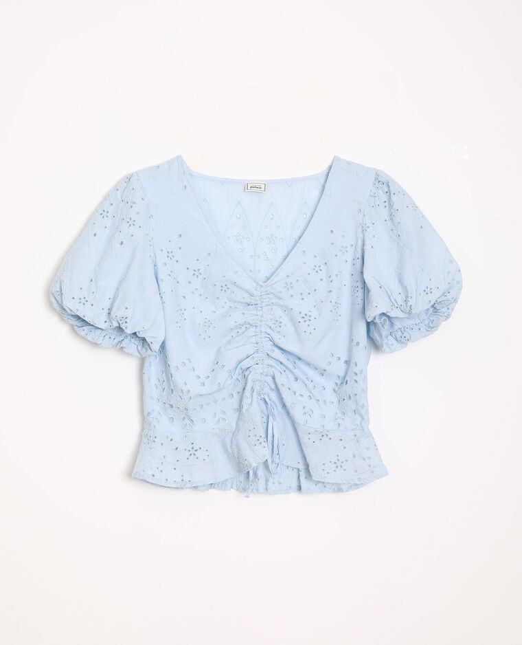 Top corto ricamato blu cielo - Pimkie