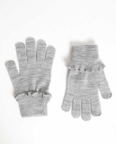 Guanti con volant grigio chiné