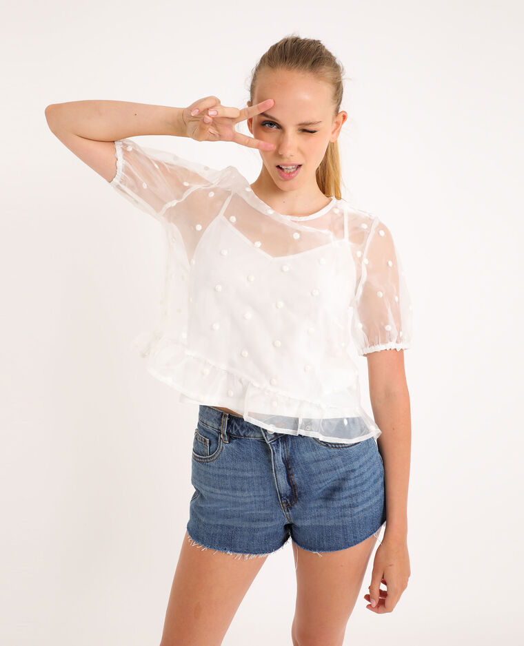 Top in organza bianco sporco - Pimkie