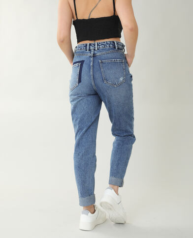 Jeans straight high waist blu grezzo