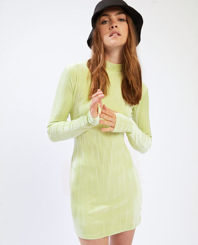 Abito in velluto verde fluo - Pimkie