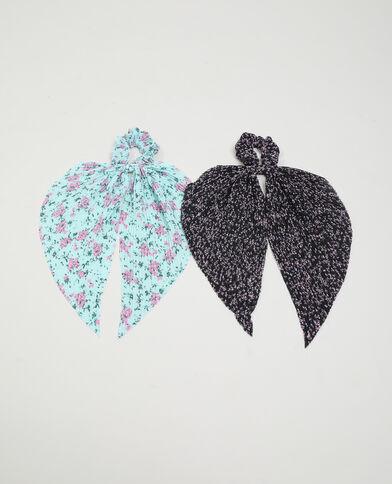 Lotto di 2 elastici con foulard nero - Pimkie