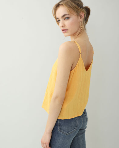 Top con plumetis arancio