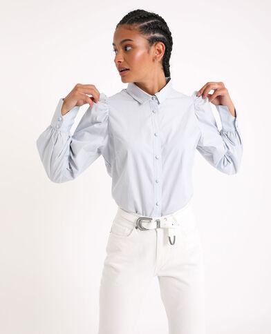 Camicia con maniche a sbuffo blu cielo