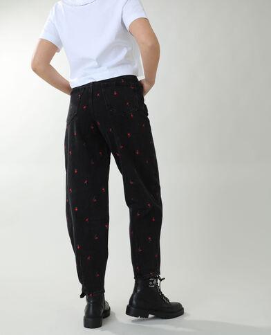 Jeans slouchy a fiori nero