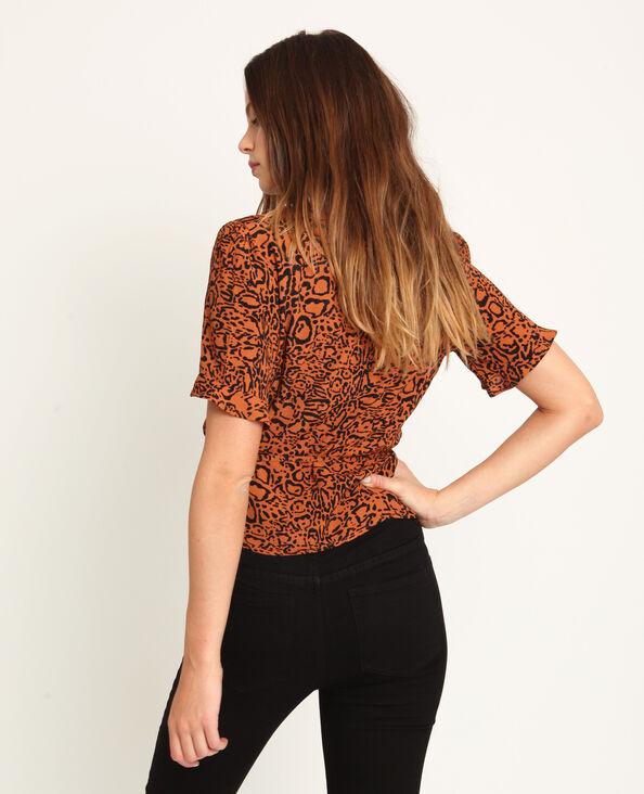 Top leopardato marrone