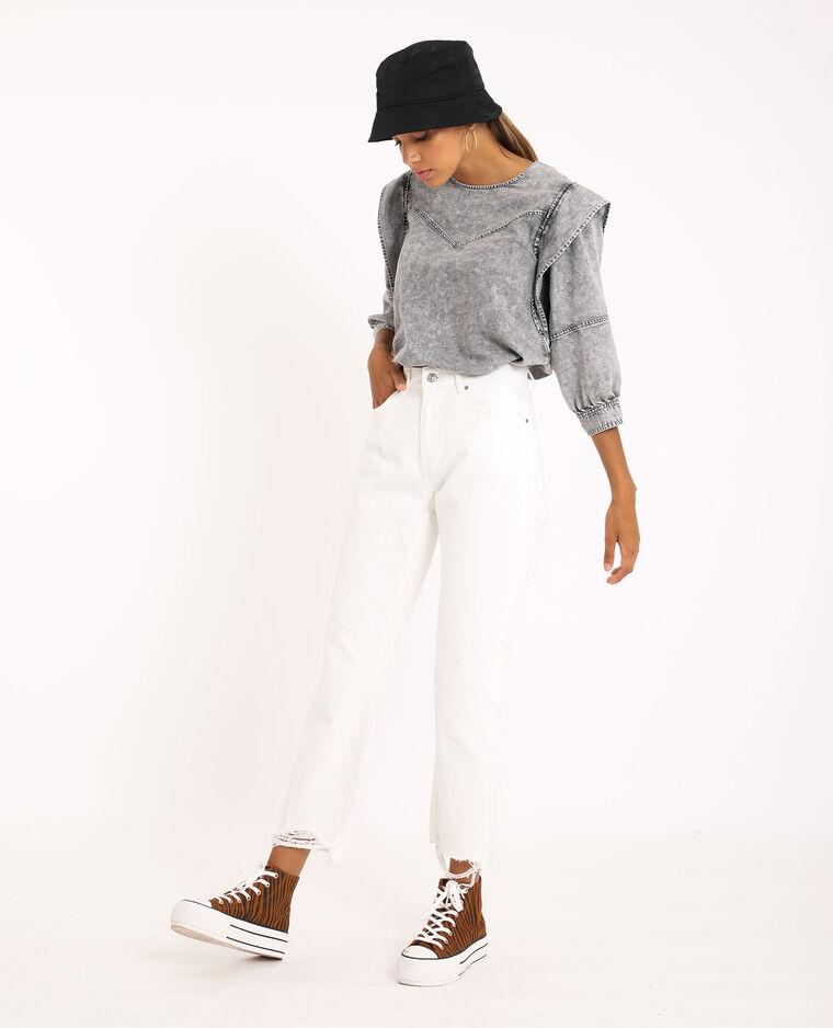 Blusa di jeans grigio